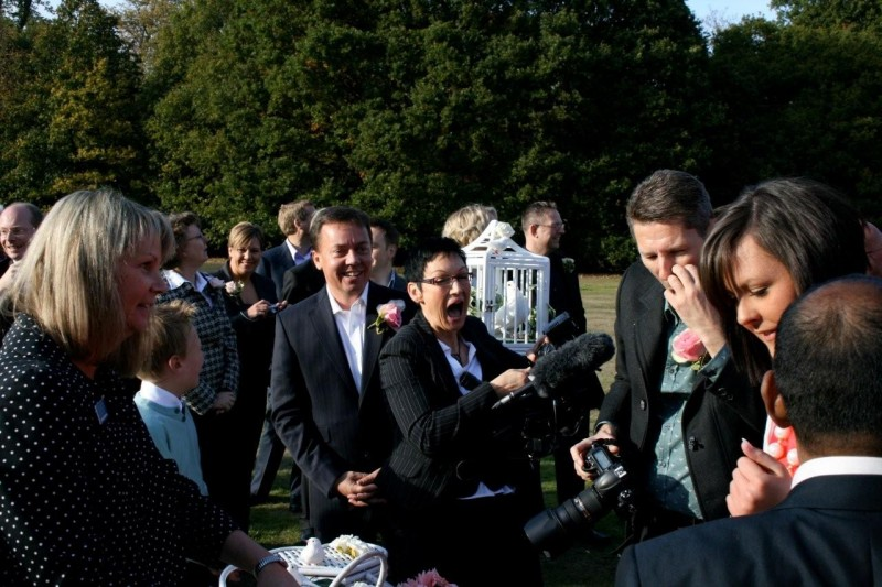 Image of Wedding Videographer filming Civil Partnership Ceremony at Theobalds Park